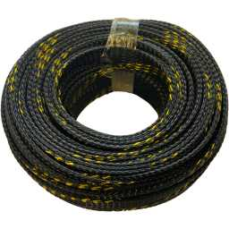 SLBG.15 15mm Braided Cable Sleeve Black With Gold Stripe 20m Pack
