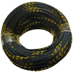 SLBG.8 8mm Braided Cable Sleeve Black With Gold Stripe 20m Pack